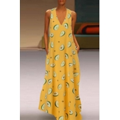 Lovely Chic Sleeveless Yellow Maxi Dress