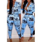 Lovely Casual Print Blue Plus Size Two-piece Pants