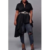 Lovely Chic Asymmetrical Black Blouse
