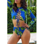 Lovely Bohemian Hollow-out Blue Two-piece Swimsuit