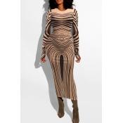 Lovely Trendy O Neck Print Khaki Mid Calf Dress
