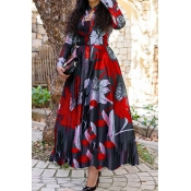 Lovely Casual Print Red Ankle Length Dress