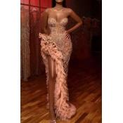Lovely Sexy Tassel Design Pink Floor Length Dress