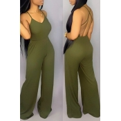 Lovely Sexy Backless Green Jumpsuit