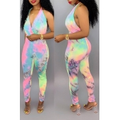 Lovely Sexy Print Multicolor Jumpsuit