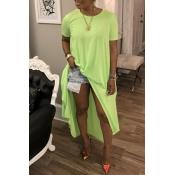 Lovely Trendy Side Slit Green Blouse