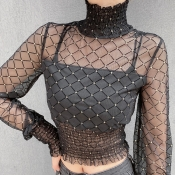 Lovely Trendy Turtleneck Print Black Blouse