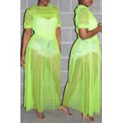Lovely Trendy O Neck Ruffle Design Green Blouse