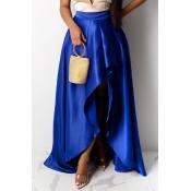 Lovely Casual Asymmetrical Royalblue Skirt