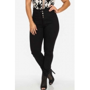 Lovely Chic Buttons Design Black Jeans