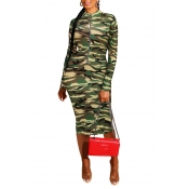 Lovely Casual Camouflage Print Green Knee Length D