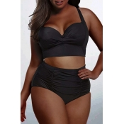 Lovely Casual Basic Black Plus Size Two-piece Swim