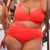 Lovely Hollow-out Red Plus Size Two-piece Swimsuit