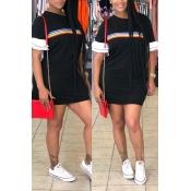 Lovely Trendy Print Black Mini Dress