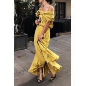 Lovely Casual One Shoulder Yellow Ankle Length Tru