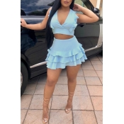 Lovely Chic Flounce Blue Two-piece Skirt Set