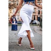 Lovely Stylish Slit White Skirt