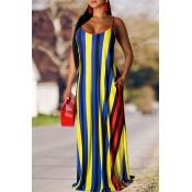 Lovely Casual Striped Print Yellow Maxi Dress
