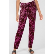Lovely Casual Print Rose Red Pants