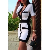 Lovely Chic Patchwork White Mini Dress