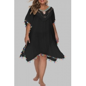 Lovely Chic Hollow-out Black Plus Size Beach Dress