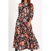 Lovely Chic Floral Print Black Ankle Length Dress