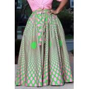 Lovely Sweet Print Loose Green Skirt
