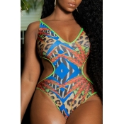 Lovely Hollow-out Print Blue Plus Size One-piece S