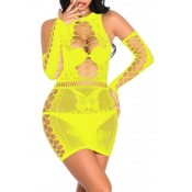 Lovely Sexy Hollow-out Yellow Babydolls