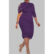 Lovely Trendy Ruffle Design Purple Knee Length Plus Size Dress