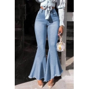 Lovely Casual Flounce Baby Blue Jeans