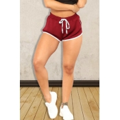 Lovely Casual Drawstring Wine Red Shorts