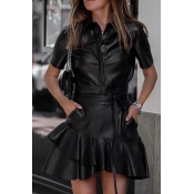 Lovely Sweet Flounce Design Black Two-piece Skirt