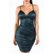 Lovely Sexy Sleeveless Fold Design Blacklish Green