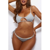 Lovely Lace-up Grey Two-piece Swimsuit