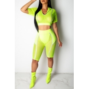 Lovely Casual Skinny Yellow Two-piece Shorts Set