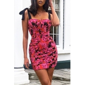 Lovely Chic Floral Print Lace-up Rose Red Mini Dre