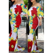 Lovely Leisure Floral Print White Maxi Dress