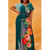 Lovely Casual Print Blackish Green Maxi Plus Size