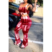 Lovely Leisure Print Red Two-piece Pants Set