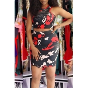 Lovely Chic Print Black Two-piece Skirt Set