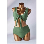 Lovely Knot Design Green Two-piece Swimsuit