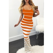Lovely Chic Striped Skinny Croci Maxi Dress