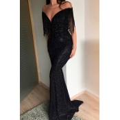 Lovely Party Tassel Design Black Maxi Dress