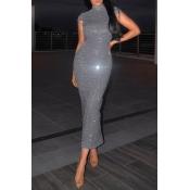 Lovely Chic Skinny Kbasic Grey Ankle Length Dress