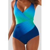 Lovely Print Blue Plus Size One-piece Swimsuit