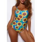 Lovely Square Collar Floral Print One-piece Swimsu
