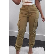 Lovely Casual Patchwork Khaki Pants