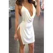 Lovely Sexy Backless White Mini Dress