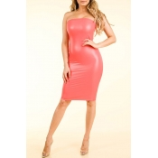 Lovely Chic Dew Shoulder Watermelon Red Knee Lengt